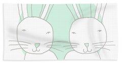 Two Bunnies- Art By Linda Woods Bath Towel
