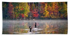 Two Canadian Geese Swimming In Autumn Hand Towel