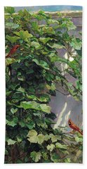 Two Cardinals On The Vine Tree Bath Towel