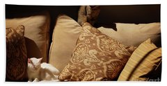 Two Cats Hand Towel by John Kolenberg