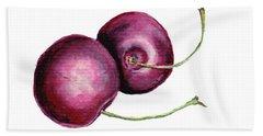 Bath Towel featuring the painting Two Cherries by Heidi Kriel