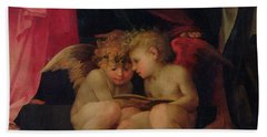 Two Cherubs Reading Detail From Madonna And Child With Saints Bath Towel