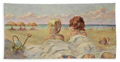 Two Children On The Beach Hand Towel