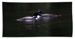Two Common Loons At Sunset Bath Towel