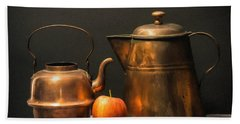 Hand Towel featuring the photograph Two Copper Pots And An Apple by Frank Wilson