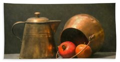 Bath Towel featuring the photograph Two Copper Pots Pomegranate And An Apple by Frank Wilson