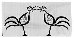 Two Crowing Roosters  Bath Towel by Sarah Loft