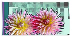 Two Dahlias Bath Towel by Shirley Heyn
