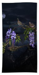Mourning Doves In Moonlight Bath Towel