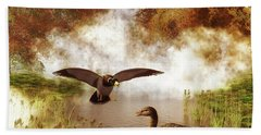 Two Ducks In A Pond Hand Towel