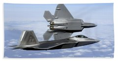 Bath Towel featuring the photograph Two F-22a Raptors In Flight by Stocktrek Images