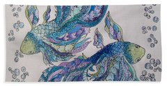 Bath Towel featuring the drawing Two Fish Tangled 2 by Megan Walsh