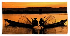 Two Fisherman At Sunset Hand Towel