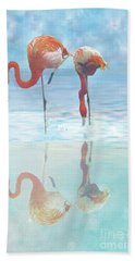 Two Flamingos Searching For Food Bath Towel