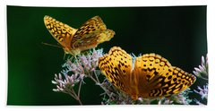 Two Fritillaries Hand Towel by Kathryn Meyer
