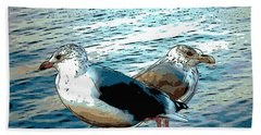 Two Gulls Hand Towel by Ann Tracy