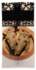 Bath Towel featuring the photograph Two Horses In The Wall by Menega Sabidussi