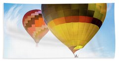 Two Hot Air Balloons Into The Sun Bath Towel