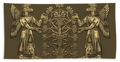 Two Instances Of Gold God Ninurta With Tree Of Life Over Black Canvas Bath Towel