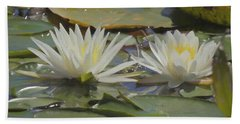 Two Lillypads Blossoms Bath Towel