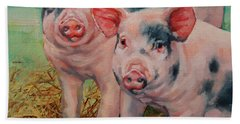 Bath Towel featuring the painting Two Little Pigs  by Margaret Stockdale