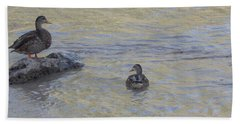 Two Mallard Ducks Bath Towel