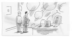 Two Men In Finance See Money Bags In Every Cloud. Bath Towel