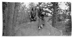 Two Men On A Boulder In The American West, 1972 Bath Towel