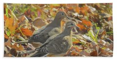 Two Mourning Doves Standing Together In Colorful Fall Leaves. Bath Towel
