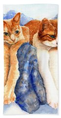 Two Orange Tabby Cats Hand Towel