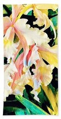 Two Orchids Pink Turquoise Hand Towel