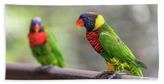 Bath Towel featuring the photograph Two Parrots by Pradeep Raja Prints