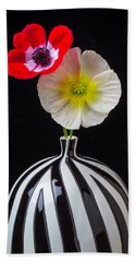 Two Poppies In Striped Vase Hand Towel