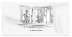Two Prisoners Sit In Separate Dog Kennel Cells Bath Towel