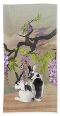Two Rabbits Under Wisteria Tree Bath Towel