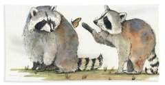 Two Raccoons Hand Towel by Juan Bosco