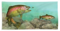 Two Rainbow Trout Hand Towel