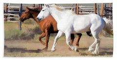 Two Ranch Horses Galloping Into The Corrals Hand Towel