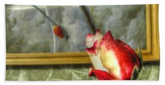 Hand Towel featuring the pyrography Two Rose by Yury Bashkin