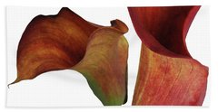 Two Rust Calla Lilies Square Hand Towel by Heather Kirk