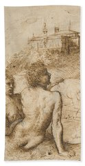 Two Satyrs In A Landscape Bath Towel