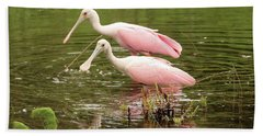 Two Spoonbills In Pond Hand Towel