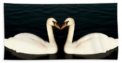 Two Symmetrical White Love Swans Hand Towel by John Williams