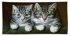 Two Tabby Kittens  Bath Towel