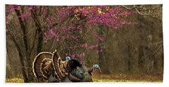 Two Tom Turkey And Redbud Tree Bath Towel by Sheila Brown