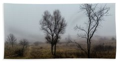 Two Trees In The Fog Bath Towel