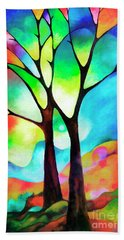 Two Trees Hand Towel by Sally Trace