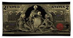 Bath Towel featuring the photograph Two U.s. Dollar Bill - 1896 Educational Series In Gold On Black  by Serge Averbukh
