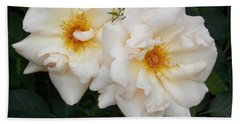 Two White Flowers Bath Towel by Catherine Gagne