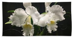 Two White Orchids Bath Towel